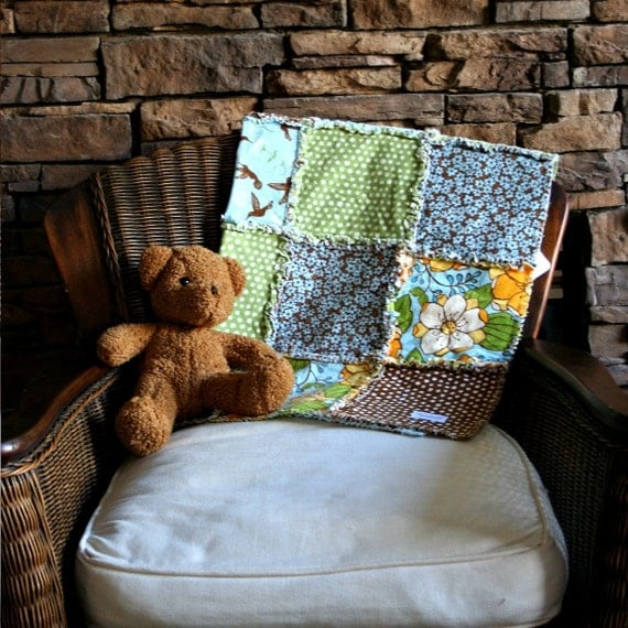 sweet blue green and brown rag quilt