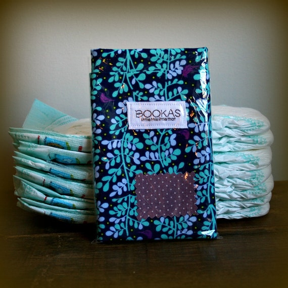 purple birds and branches diaper clutch