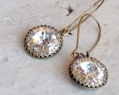 VINTAGE Looking Wedding Earrings for Bridesmaid Gifts, Antique Brass with Swarovski Crystals on Kidney Ear Wires, Choose Shorter Wires Also