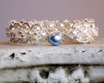 SOMETHING BLUE Bracelet for Brides with Swarovski Pearls and Crystals for Weddings,Something Blue Gift, Bridal Bracelet, Unique and New