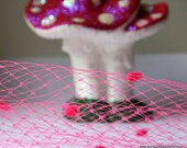 """Bright Hot Pink Dotted Veil Netting - Russian or French Net Birdcage Material, Half Yard 18"""" or 1 Yard"""