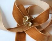 """Rare Antique Carmel Velvet Ribbon - 3/4"""" Wide, 1 Yard"""