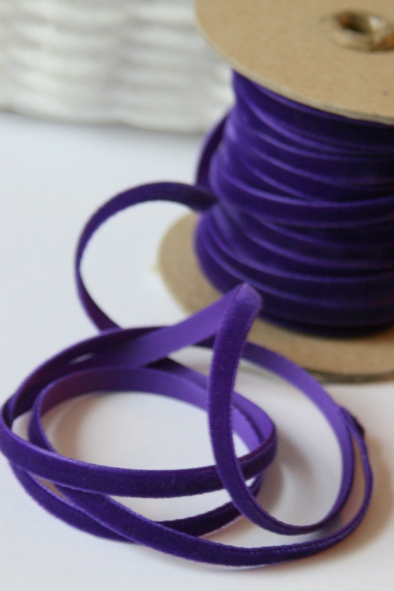 "Narrow Regency  Purple Velvet Ribbon - 1/4"" Wide, 1 Yard"