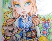 The Wizard Of Oz Big Eye Fairytale Fantasy Art Print 8.5 x 11