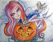 Halloween Vamperella Goth Fairy Fantasy Art Print