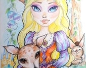 Sleeping Beauty Big Eye Fantasy Fairytale Art Print 8.5 x 11