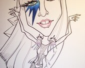 Lady Gaga Rock Portrait Rock and Roll Caricature Music Art by Leslie Mehl