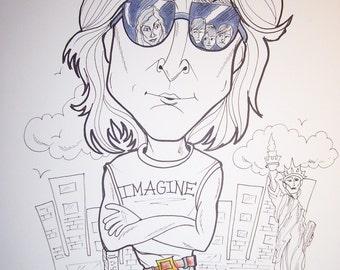 John Lennon Rock Portrait Rock and Roll Caricature Music Art by Leslie Mehl