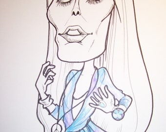 Joni Mitchell Rock Portrait Rock and Roll Caricature Music Art by Leslie Mehl