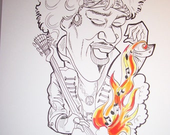 Jimi Black and White Rock Portrait Rock and Roll Caricature Music Art by Leslie Mehl