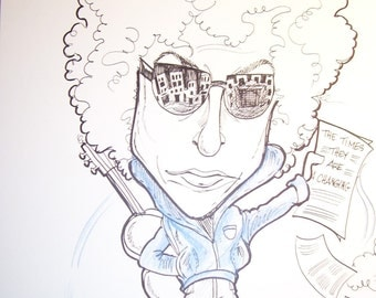 Bob Dylan Rock Portrait Rock and Roll Caricature Music Art by Leslie Mehl