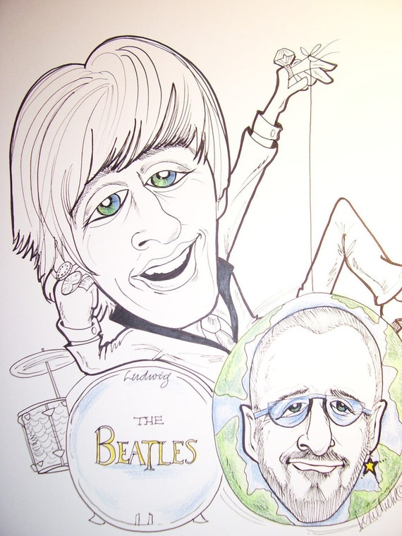 Ringo Starr Rock Portrait Rock and Roll Caricature Music Art by Leslie Mehl