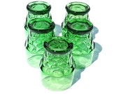 Vintage Green Glass Tumblers Georgian Wintergreen Anchor Hocking
