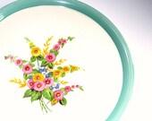 Vintage Serving Plate Platter Aqua Rim Hollyhock Flowers 1950's 1940's
