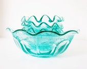 Bohemian Glass Bowl Set Czechoslovakia Vintage Aquamarine Teal Blue - jarmfarm