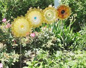 Yard Art Garden Decor Vintage Glass Flower Suncatcher Repurposed AMBER