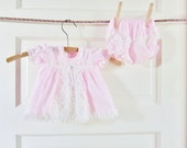 Baby Dress Vintage Pastel Pink Doll Dress Newborn 32 Year Old Girls