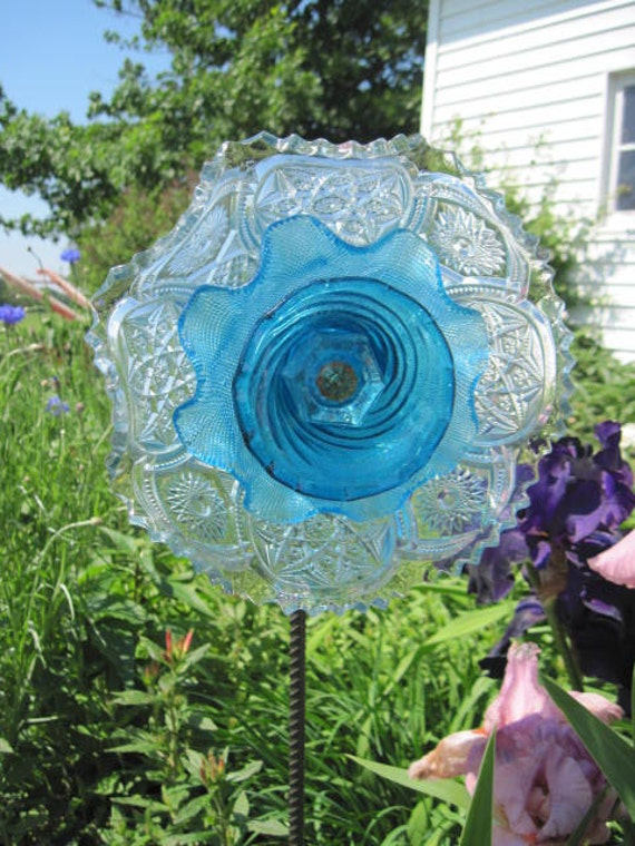 Reserved sale garden decor upcycled glass art suncatcher for Upcycled yard decor
