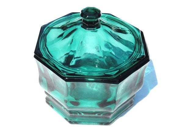 Teal Blue Glass Covered Bowl Candy Dish Mid Century
