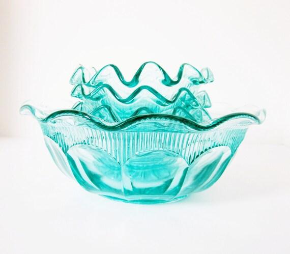 Bohemian Glass Bowl Set Czechoslovakia Vintage Aquamarine Teal Blue