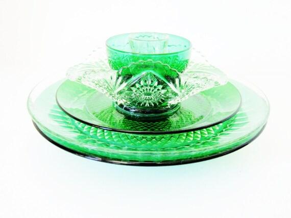 SALE Garden Art Decoration Glass Plate Flower Upcycled OLIVIA