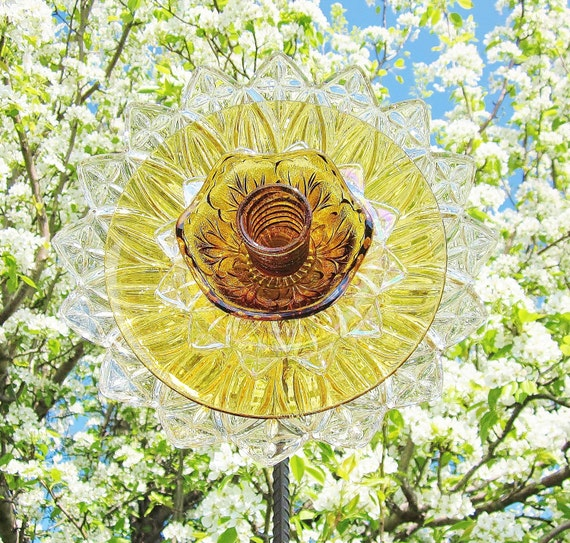 Flower Garden Art Glass Yard Stake Outdoor Decor UpCycled ReCycled AMBER