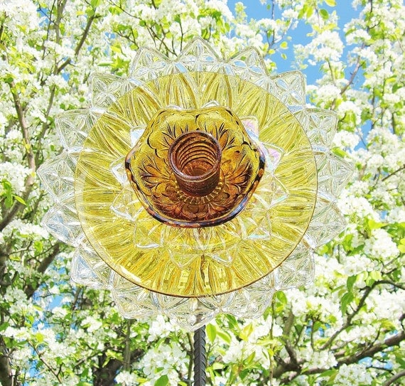 Flower Garden Art Glass Yard Stake Outdoor Decor UpCycled