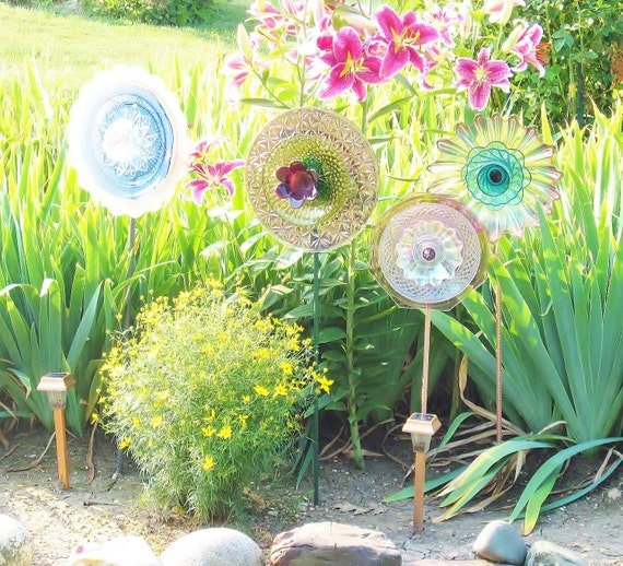 Feminine Garden Art  Decoration Glass Plate Flower Upcycled JOY