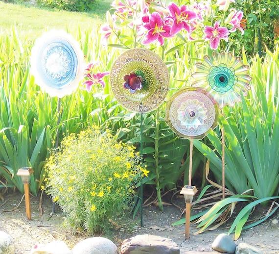 Feminine Garden Art  Decoration Glass Plate Flower Upcycled JOY