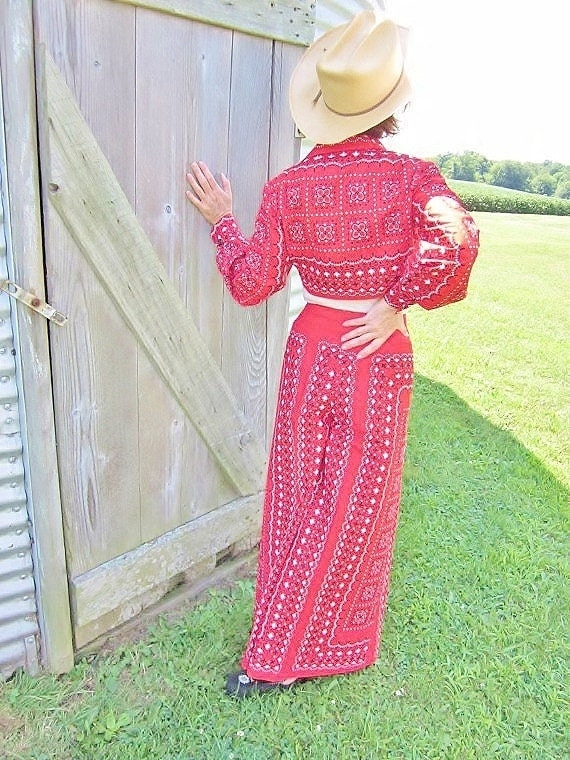 Vintage Cowgirl Costume Bandana Print Top & Gaucho Pants Rikki Size 8