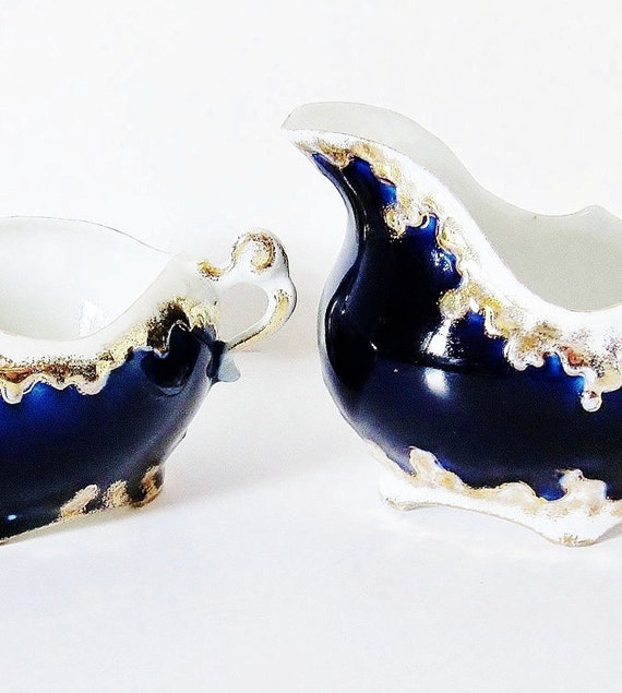 Antique Cobalt Blue Porcelain Cream And Sugar Set Victorian Edwardian Era