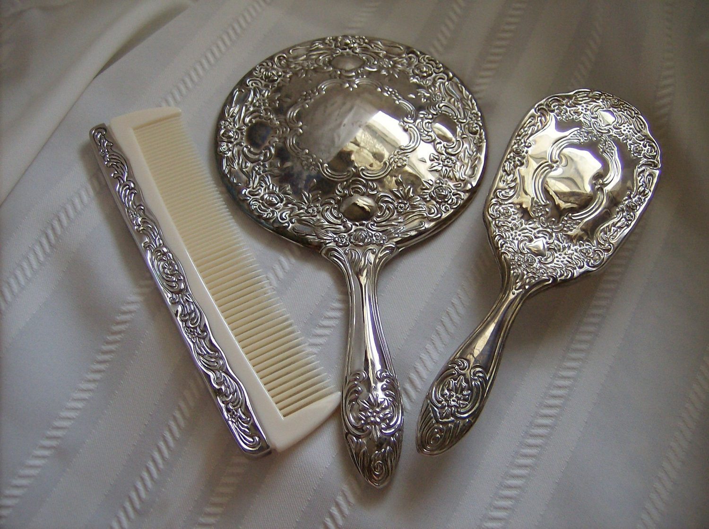 Vanity Dresser Set Silverplate Mirror Brush And Comb Vintage
