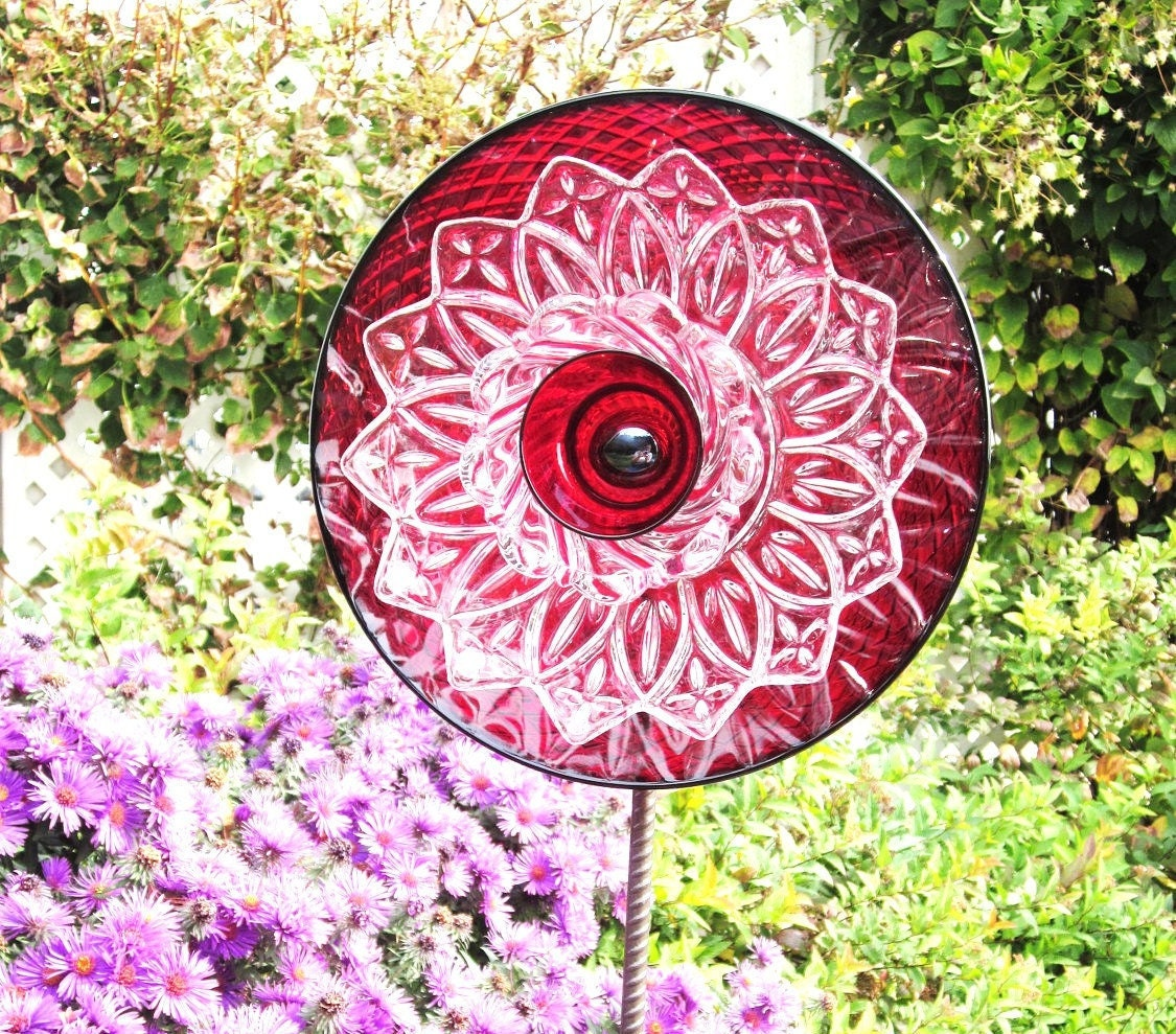 Garden Art Decor Glass Plate Art Flower Suncatcher By Jarmfarm
