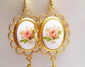 Vintage Pink Rose Floral Glass Dangle Earrings