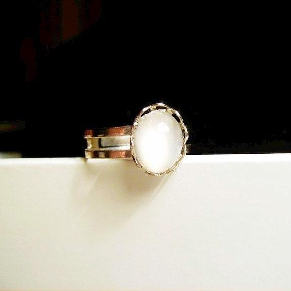Handmade White Moonstone Ring