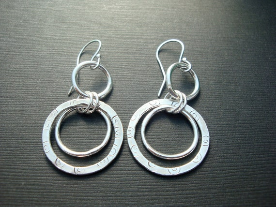 Awesome Fine Silver Stamped Hoop Earrings