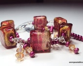Rubino and Gold Square Lampwork Charm Bracelet