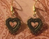 Lacy Heart Earrings - Antique Matte Gold or Silver