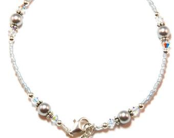 Platinum Pearl Sterling Silver Ankle Bracelet