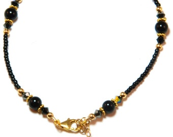 Black Onyx Gold Filled Ankle Bracelet