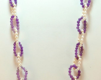Freshwater Pearl and Amethyst Necklace