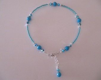 Faceted Turquoise Sterling Silver Ankle Bracelet