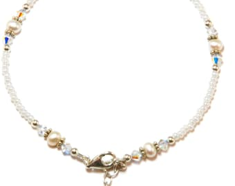 White Freshwater Pearl Sterling Silver Ankle Bracelet