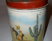 OLD RELIABLE Vintage Mexican Canister with Charming Burro - Donkey and Cactus Image