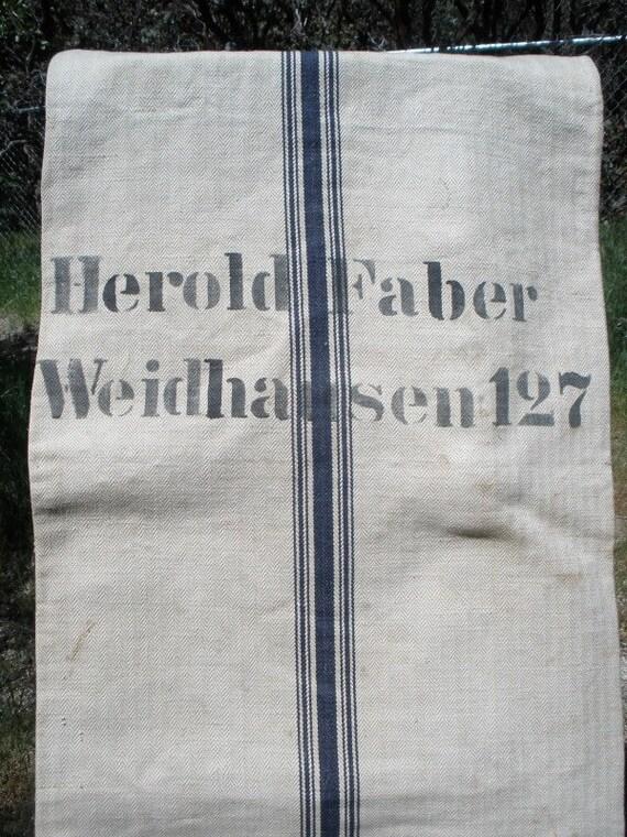 Rare Antique German Hemp Grain Sack - Dark Blue Stripes