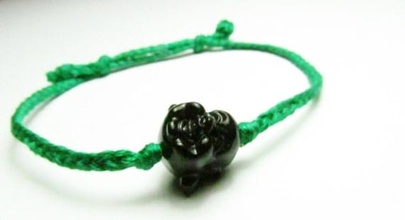 Laughing Buddha Adjustable Bracelet (Black / Green)