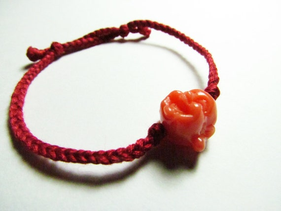 Laughing Buddha Adjustable Bracelet (Orange / Red)