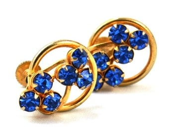 Vintage Blue Rhinestone Earrings 1940s Jewelry