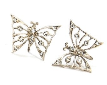 Vintage Sterling Silver Screw Back Rhinestone Butterfly Earrings 925
