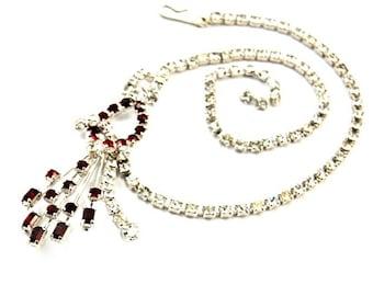 Vintage Red Rhinestone Spray Choker Necklace 1950s